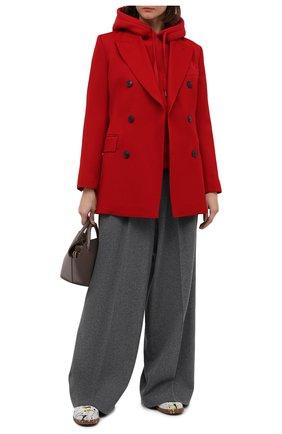 Женская хлопковое худи AMI красного цвета, арт. H20FJ053.749 | Фото 2