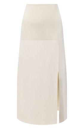 Женская юбка из шелка и вискозы JIL SANDER кремвого цвета, арт. JSWR754343-WRY39058 | Фото 1