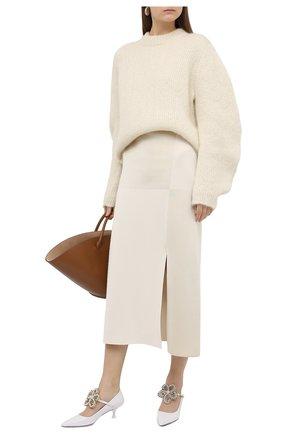 Женская юбка из шелка и вискозы JIL SANDER кремвого цвета, арт. JSWR754343-WRY39058 | Фото 2