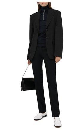 Женские шерстяные брюки JIL SANDER темно-синего цвета, арт. JSWR305720-WR202500 | Фото 2