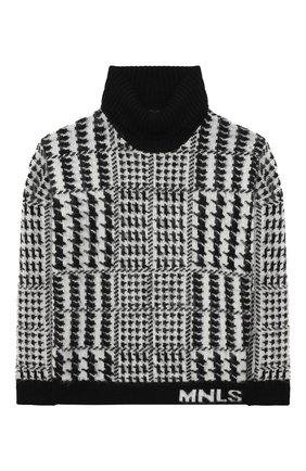 Детский шерстяной свитер JAKIOO черно-белого цвета, арт. 496603 | Фото 1