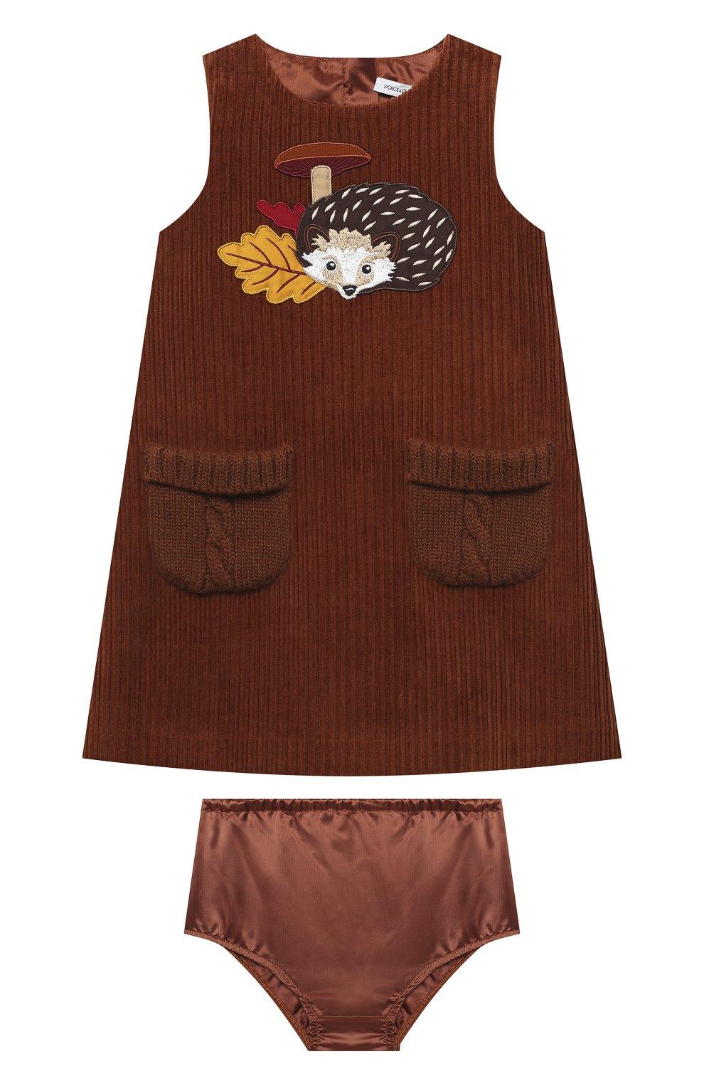Женский комплект из платья с шортами DOLCE & GABBANA коричневого цвета, арт. L22D04/FUWDB | Фото 1