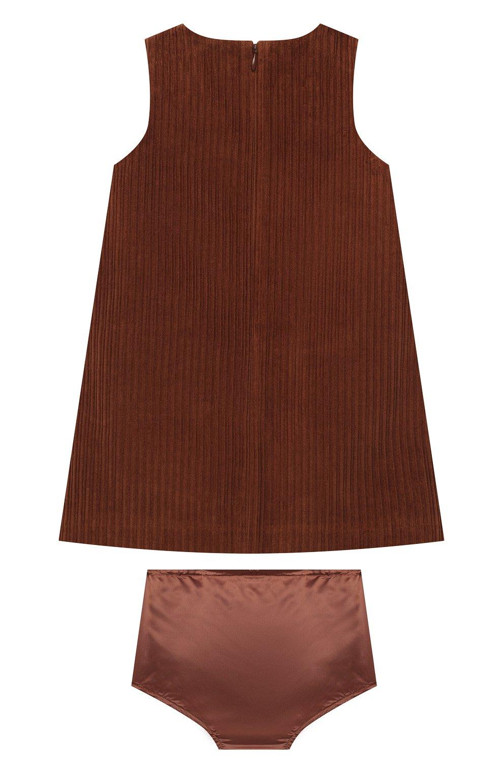 Женский комплект из платья с шортами DOLCE & GABBANA коричневого цвета, арт. L22D04/FUWDB | Фото 2