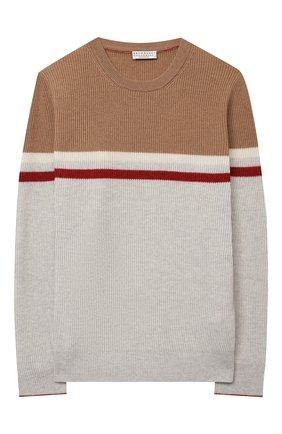 Детский кашемировый пуловер BRUNELLO CUCINELLI светло-серого цвета, арт. B22M10200C | Фото 1
