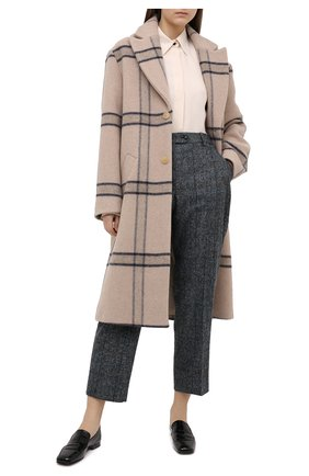 Женские шерстяные брюки KITON синего цвета, арт. D50113K05T31 | Фото 2