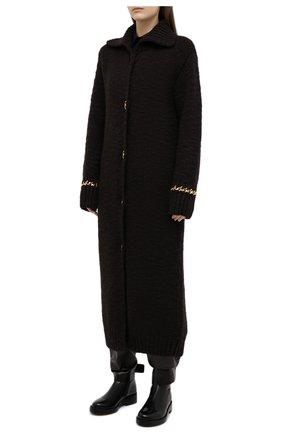 Женский шерстяной кардиган BOTTEGA VENETA темно-коричневого цвета, арт. 638593/V07P0 | Фото 3