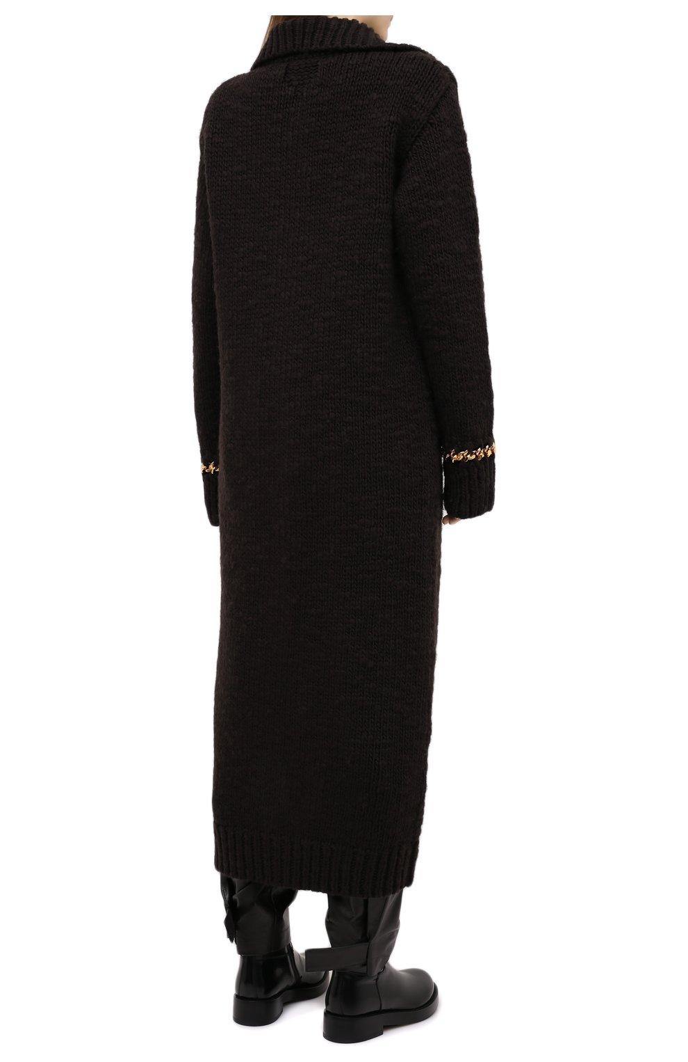 Женский шерстяной кардиган BOTTEGA VENETA темно-коричневого цвета, арт. 638593/V07P0 | Фото 4