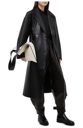 Женские кожаные брюки BOTTEGA VENETA темно-коричневого цвета, арт. 633867/VKLC0 | Фото 2