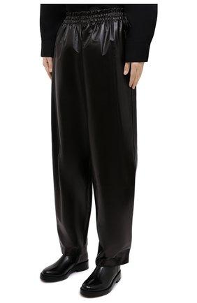 Женские кожаные брюки BOTTEGA VENETA темно-коричневого цвета, арт. 633867/VKLC0 | Фото 3