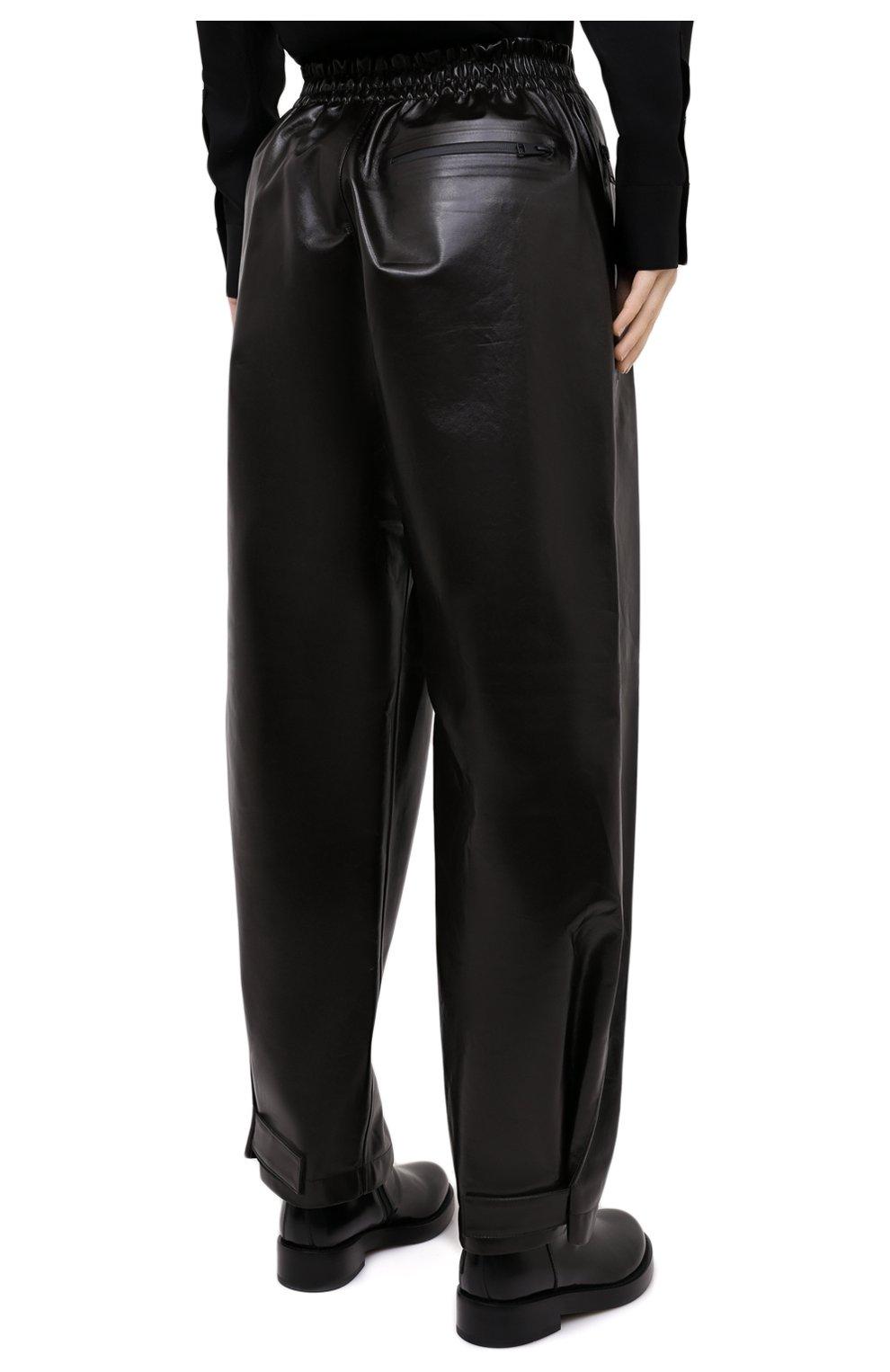 Женские кожаные брюки BOTTEGA VENETA темно-коричневого цвета, арт. 633867/VKLC0 | Фото 4