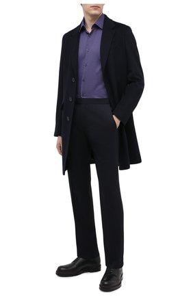 Мужская хлопковая рубашка BOSS фиолетового цвета, арт. 50439704 | Фото 2