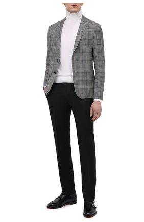 Мужские шерстяные брюки BOSS черного цвета, арт. 50409254 | Фото 2 (Длина (брюки, джинсы): Стандартные; Материал внешний: Шерсть; Случай: Формальный; Стили: Классический)
