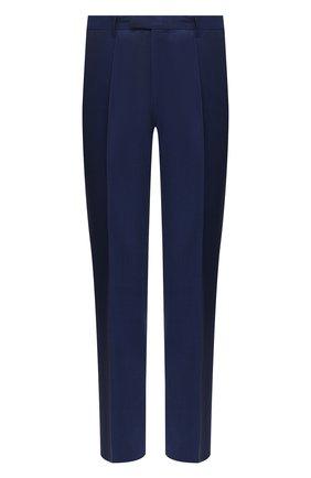 Мужские шерстяные брюки BOSS темно-синего цвета, арт. 50409254 | Фото 1 (Длина (брюки, джинсы): Стандартные; Материал внешний: Шерсть; Случай: Формальный; Стили: Классический)