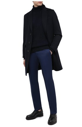 Мужские шерстяные брюки BOSS темно-синего цвета, арт. 50409254 | Фото 2 (Длина (брюки, джинсы): Стандартные; Материал внешний: Шерсть; Случай: Формальный; Стили: Классический)