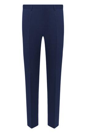 Мужские шерстяные брюки BOSS темно-синего цвета, арт. 50408837 | Фото 1 (Материал внешний: Шерсть; Длина (брюки, джинсы): Стандартные; Случай: Формальный; Стили: Классический)