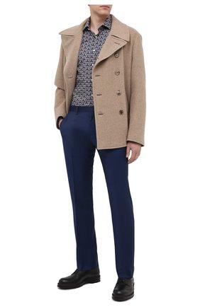 Мужские шерстяные брюки BOSS темно-синего цвета, арт. 50408837 | Фото 2 (Материал внешний: Шерсть; Длина (брюки, джинсы): Стандартные; Случай: Формальный; Стили: Классический)