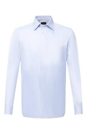 Мужская хлопковая сорочка ERMENEGILDO ZEGNA голубого цвета, арт. 801050/9MS0PA | Фото 1