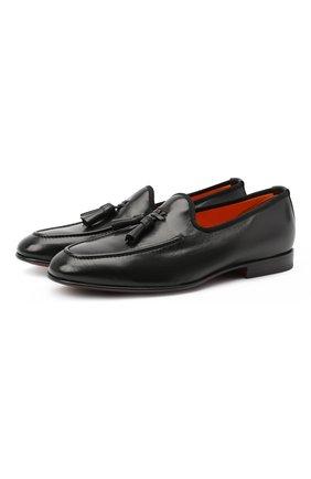 Мужские кожаные лоферы SANTONI черного цвета, арт. MCH017216LF1URSVN51 | Фото 1