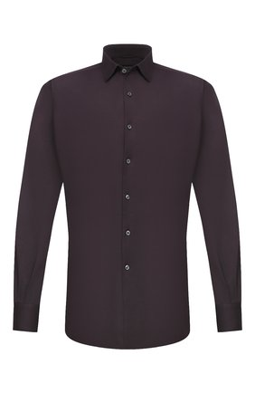 Мужская хлопковая рубашка ERMENEGILDO ZEGNA темно-фиолетового цвета, арт. UVX18/SRF5 | Фото 1