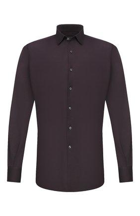 Мужская хлопковая рубашка ERMENEGILDO ZEGNA темно-фиолетового цвета, арт. UVX18/SRF5 | Фото 1 (Длина (для топов): Стандартные; Рукава: Длинные; Материал внешний: Хлопок; Случай: Повседневный; Стили: Кэжуэл; Воротник: Кент; Мужское Кросс-КТ: Рубашка-одежда; Принт: Однотонные; Манжеты: На пуговицах)