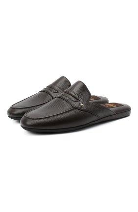 Мужского кожаные домашние туфли ALDO BRUE темно-коричневого цвета, арт. PCU127K-CM | Фото 1