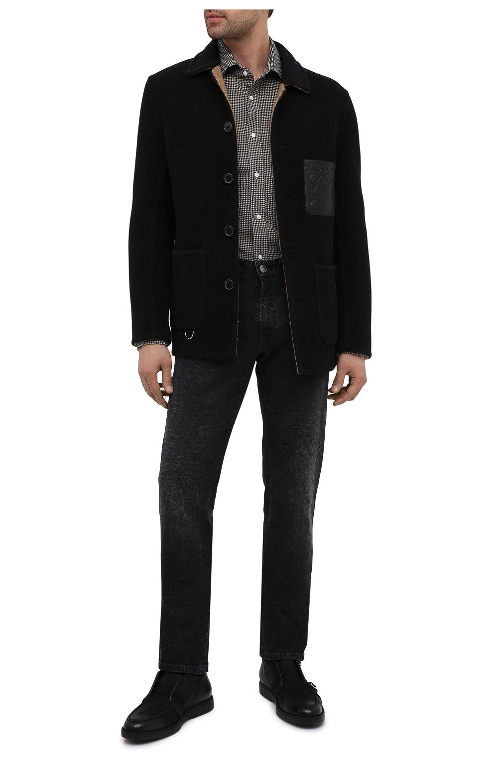 Мужская шерстяная рубашка RALPH LAUREN черно-белого цвета, арт. 791820124   Фото 2 (Манжеты: На пуговицах; Материал внешний: Шерсть; Рукава: Длинные; Воротник: Акула; Случай: Повседневный; Длина (для топов): Стандартные; Принт: С принтом; Мужское Кросс-КТ: Рубашка-одежда; Стили: Кэжуэл)