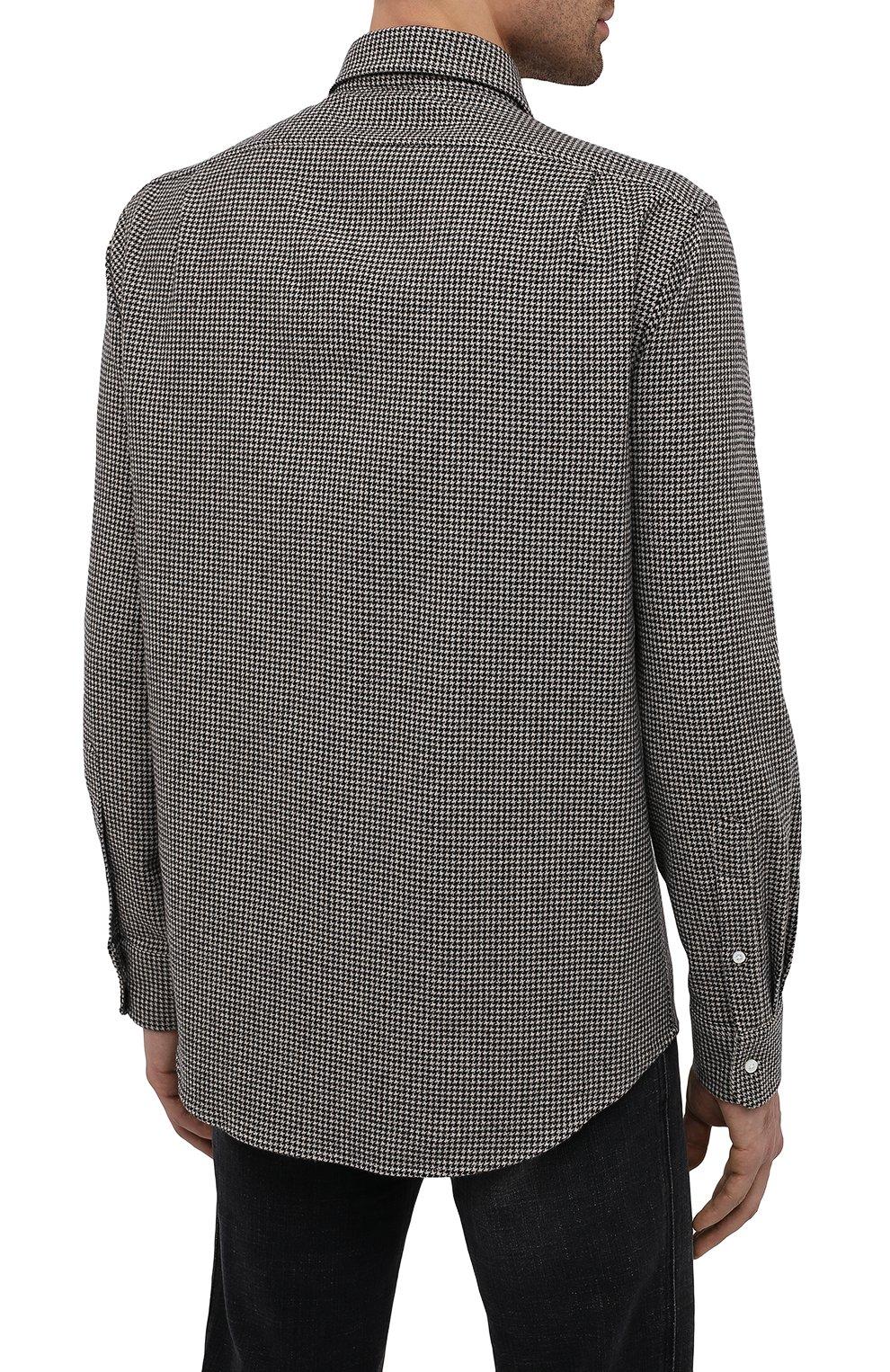 Мужская шерстяная рубашка RALPH LAUREN черно-белого цвета, арт. 791820124   Фото 4 (Манжеты: На пуговицах; Материал внешний: Шерсть; Рукава: Длинные; Воротник: Акула; Случай: Повседневный; Длина (для топов): Стандартные; Принт: С принтом; Мужское Кросс-КТ: Рубашка-одежда; Стили: Кэжуэл)