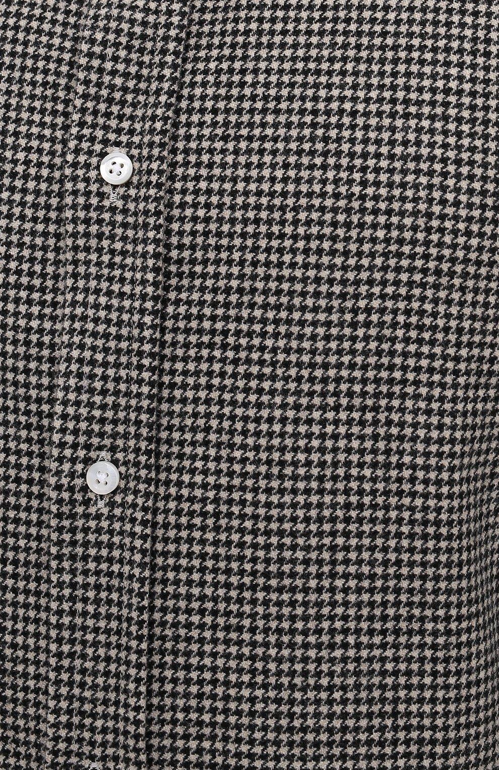 Мужская шерстяная рубашка RALPH LAUREN черно-белого цвета, арт. 791820124   Фото 5 (Манжеты: На пуговицах; Материал внешний: Шерсть; Рукава: Длинные; Воротник: Акула; Случай: Повседневный; Длина (для топов): Стандартные; Принт: С принтом; Мужское Кросс-КТ: Рубашка-одежда; Стили: Кэжуэл)