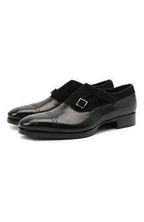 Мужские кожаные монки SANTONI черного цвета, арт. MCLE17415LE1FLTUN51 | Фото 1