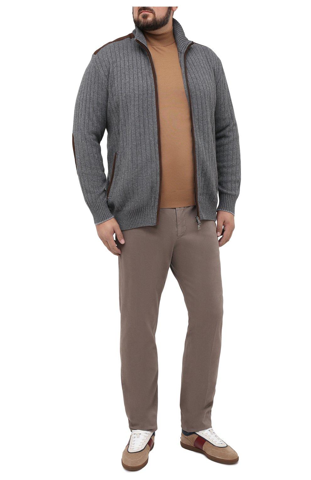 Мужские брюки из хлопка и кашемира MARCO PESCAROLO светло-коричневого цвета, арт. CARACCI0L0/4210 | Фото 2 (Big sizes: Big Sizes; Длина (брюки, джинсы): Стандартные; Случай: Повседневный; Материал внешний: Хлопок; Стили: Кэжуэл)