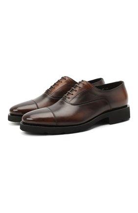 Мужские кожаные оксфорды SANTONI темно-коричневого цвета, арт. MCBN17158PW5ASYCT60 | Фото 1