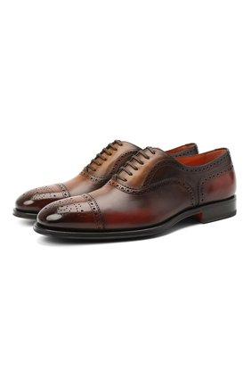Мужские кожаные оксфорды SANTONI коричневого цвета, арт. MCPG17110RG1INGCT30   Фото 1