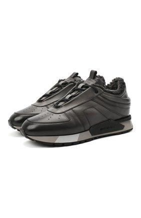 Мужские кожаные кроссовки SANTONI серого цвета, арт. MSAM21414GGNPBDNG62 | Фото 1