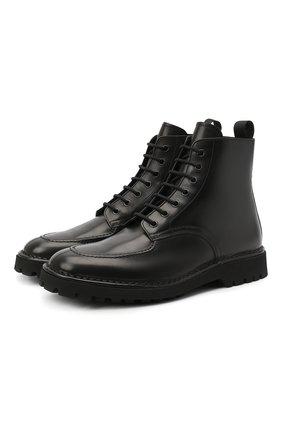 Мужские кожаные ботинки KENZO черного цвета, арт. FA65BT011L66 | Фото 1 (Материал внутренний: Натуральная кожа; Подошва: Плоская; Мужское Кросс-КТ: Ботинки-обувь, Байкеры-обувь)