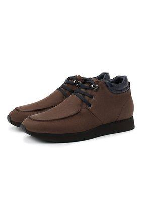 Мужские ботинки с отделкой из кожи каймана ZILLI коричневого цвета, арт. MDU-T127/006/CCR0   Фото 1
