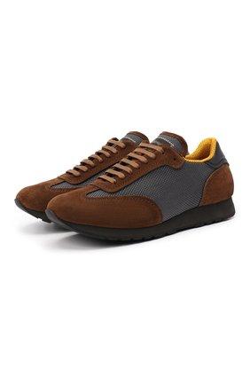 Мужские комбинированные кроссовки BRIONI коричневого цвета, арт. QHI90L/09725 | Фото 1 (Материал внешний: Текстиль; Подошва: Плоская; Материал внутренний: Натуральная кожа, Текстиль; Стили: Классический)