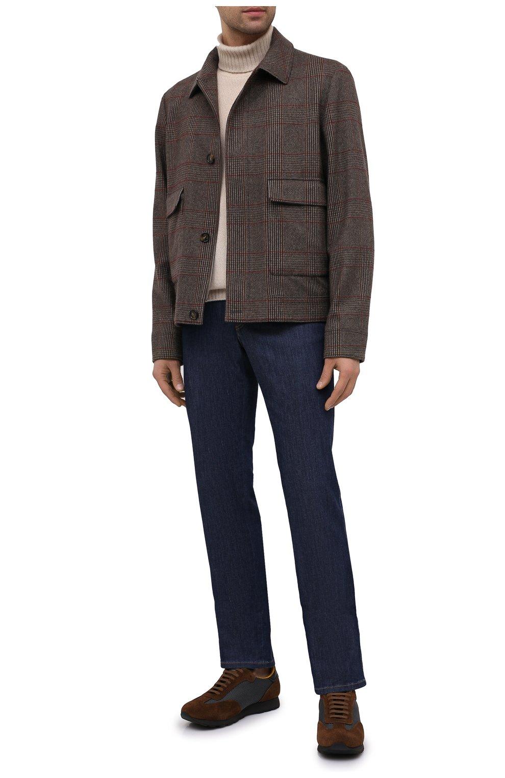 Мужские комбинированные кроссовки BRIONI коричневого цвета, арт. QHI90L/09725 | Фото 2