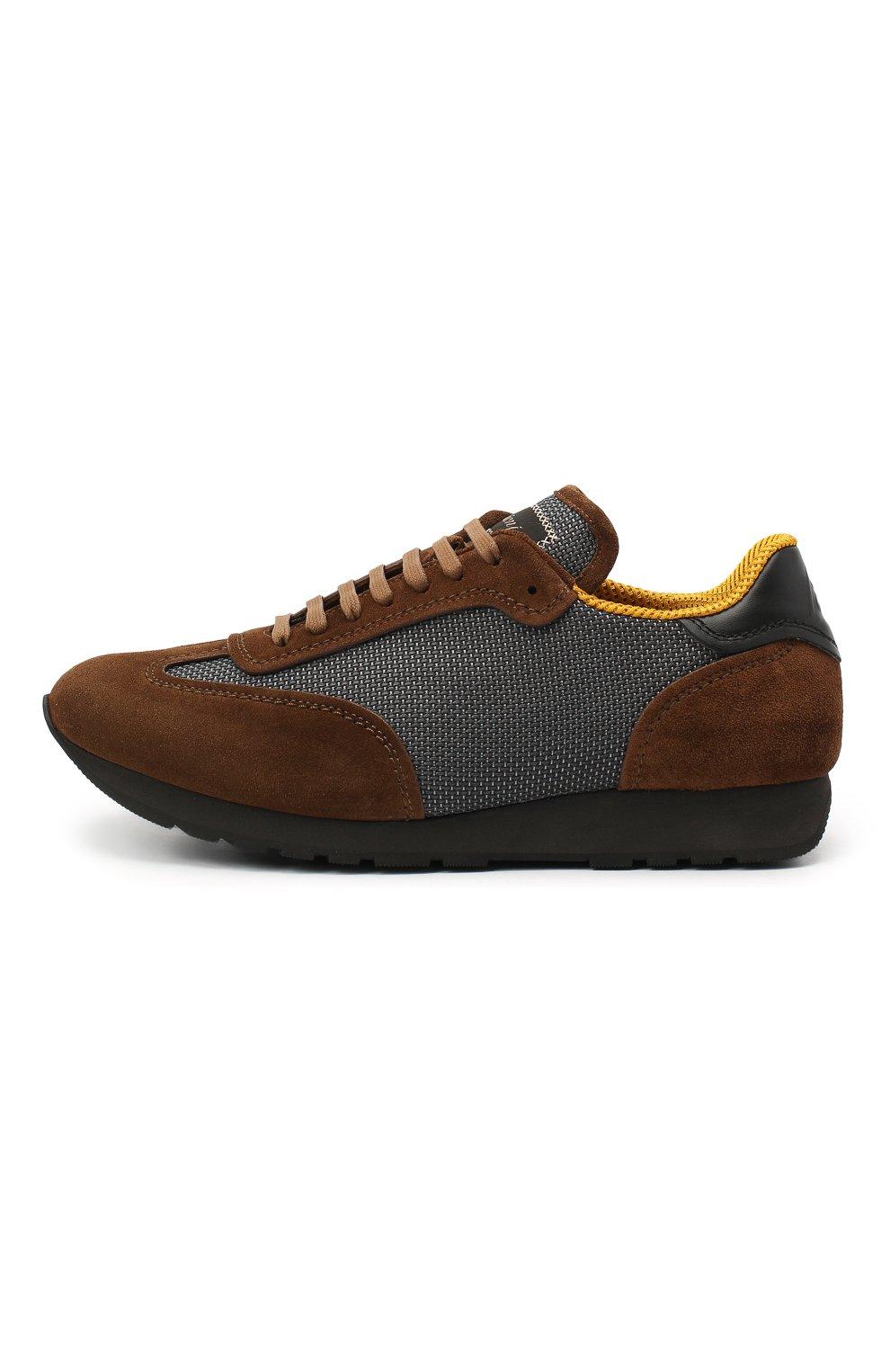 Мужские комбинированные кроссовки BRIONI коричневого цвета, арт. QHI90L/09725 | Фото 3