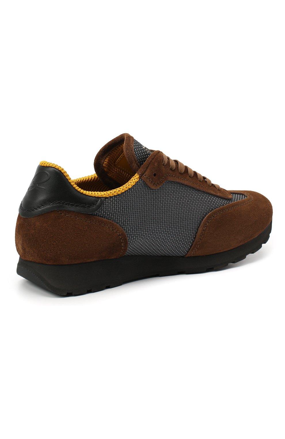 Мужские комбинированные кроссовки BRIONI коричневого цвета, арт. QHI90L/09725 | Фото 4