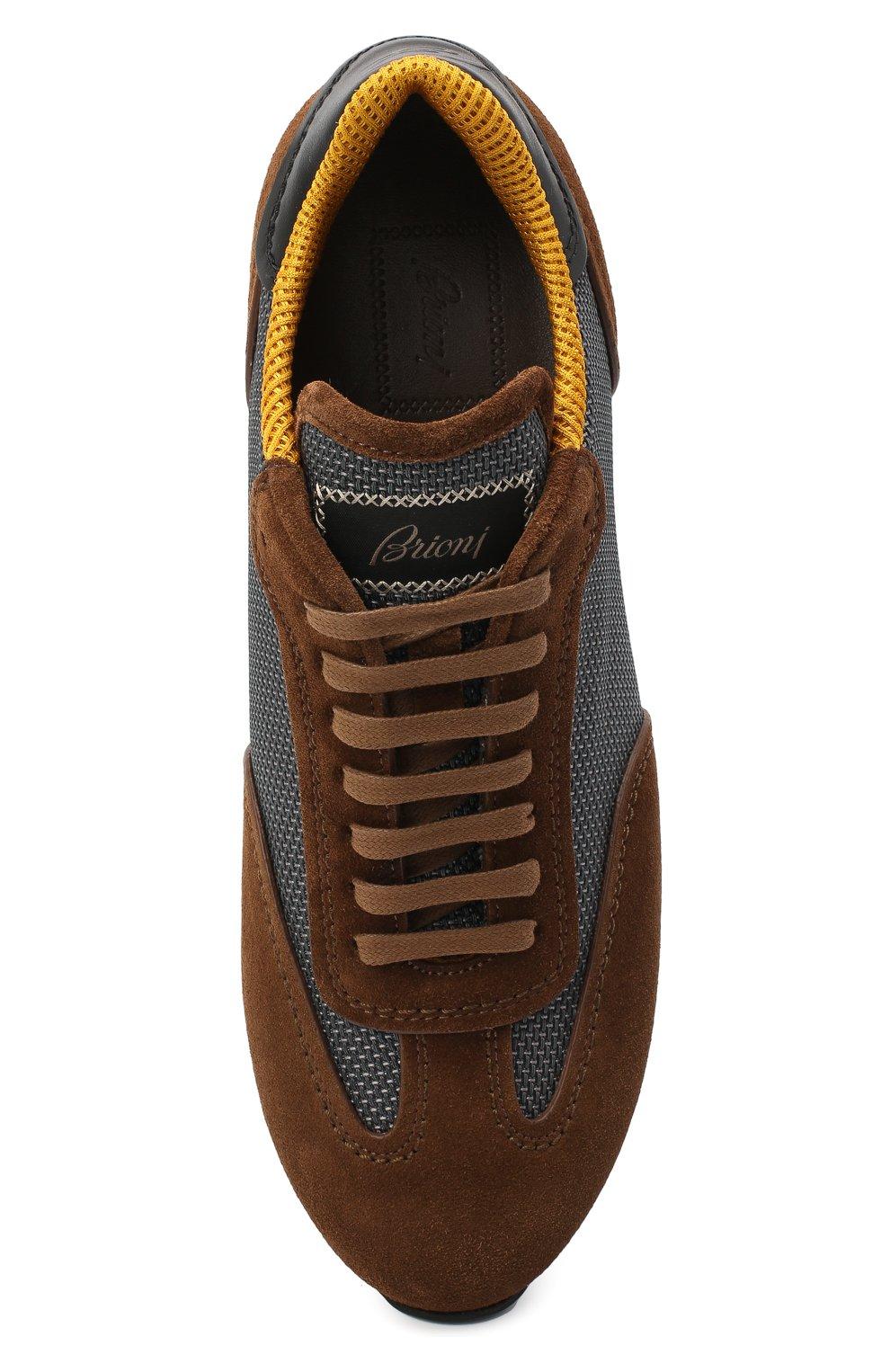 Мужские комбинированные кроссовки BRIONI коричневого цвета, арт. QHI90L/09725 | Фото 5