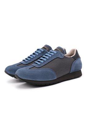 Мужские комбинированные кроссовки BRIONI синего цвета, арт. QHI90L/09725 | Фото 1