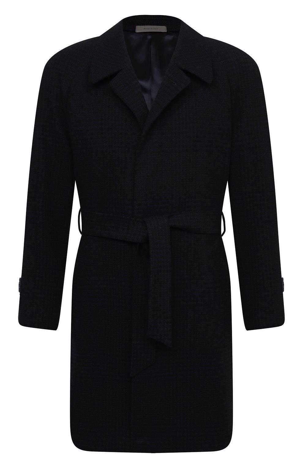 Мужской пальто из шерсти и кашемира CORNELIANI темно-синего цвета, арт. 861407-0812170/00 | Фото 1 (Материал внешний: Шерсть; Рукава: Длинные; Стили: Классический, Кэжуэл; Мужское Кросс-КТ: Верхняя одежда, пальто-верхняя одежда; Материал подклада: Вискоза)