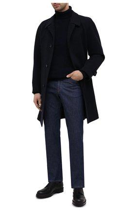 Мужской пальто из шерсти и кашемира CORNELIANI темно-синего цвета, арт. 861407-0812170/00 | Фото 2 (Материал внешний: Шерсть; Рукава: Длинные; Стили: Классический, Кэжуэл; Мужское Кросс-КТ: Верхняя одежда, пальто-верхняя одежда; Материал подклада: Вискоза)