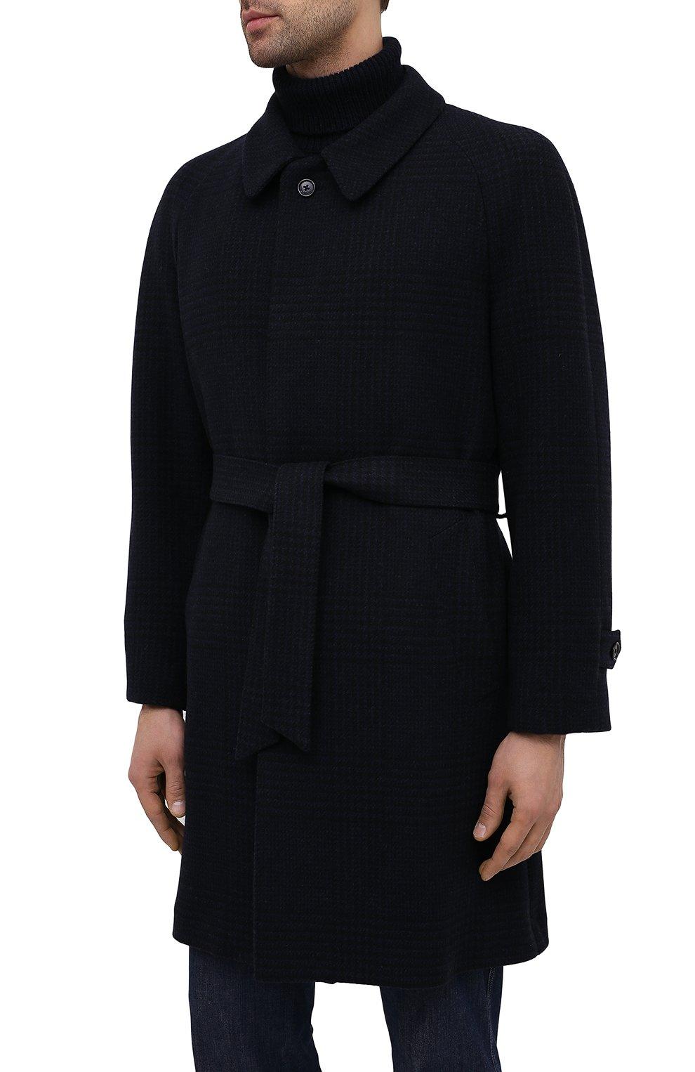 Мужской пальто из шерсти и кашемира CORNELIANI темно-синего цвета, арт. 861407-0812170/00 | Фото 3 (Материал внешний: Шерсть; Рукава: Длинные; Стили: Классический, Кэжуэл; Мужское Кросс-КТ: Верхняя одежда, пальто-верхняя одежда; Материал подклада: Вискоза)