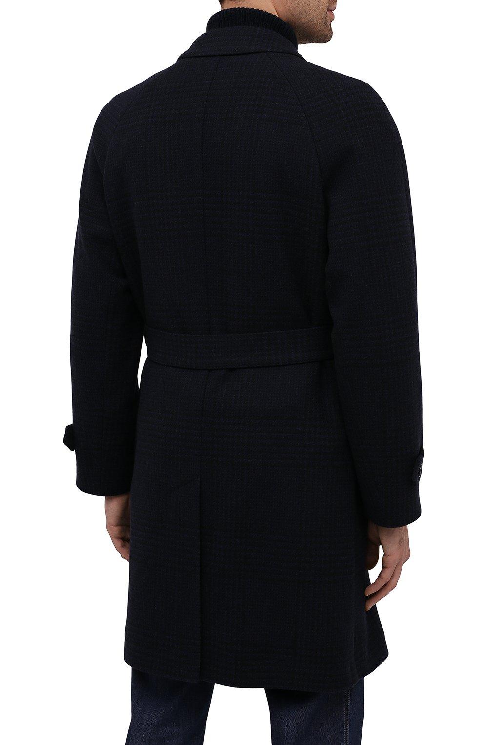 Мужской пальто из шерсти и кашемира CORNELIANI темно-синего цвета, арт. 861407-0812170/00 | Фото 4 (Материал внешний: Шерсть; Рукава: Длинные; Стили: Классический, Кэжуэл; Мужское Кросс-КТ: Верхняя одежда, пальто-верхняя одежда; Материал подклада: Вискоза)
