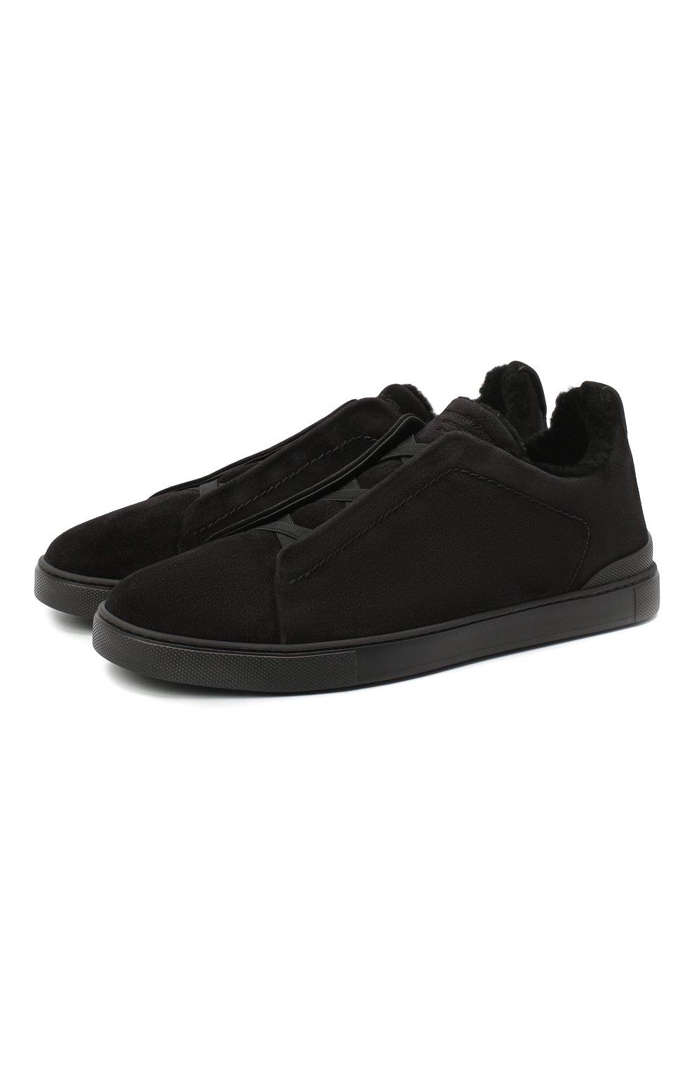 Мужские замшевые кеды ZEGNA COUTURE черного цвета, арт. A4715X-LHSMI | Фото 1 (Подошва: Массивная)