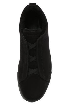 Мужские замшевые кеды ZEGNA COUTURE черного цвета, арт. A4715X-LHSMI | Фото 5 (Подошва: Массивная)
