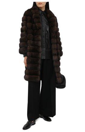 Женская шуба из меха соболя MANZONI24 коричневого цвета, арт. 20M785-Z/38-46 | Фото 2