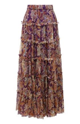 Женская шелковая юбка ZIMMERMANN фиолетового цвета, арт. 9032SLAD | Фото 1