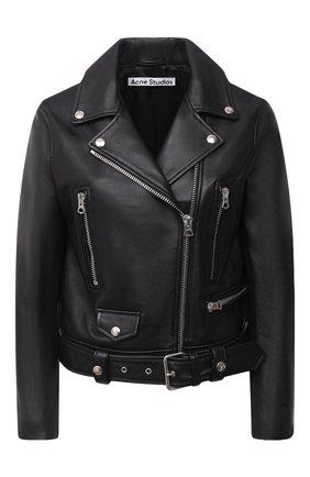 Женская кожаная куртка ACNE STUDIOS черного цвета, арт. A70065 | Фото 1